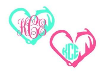 Fish Hook & Antler Heart