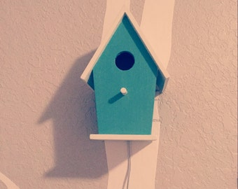 Bird house night light light blue baby boy by thetinyacornbyjlee - Birdhouse nightlight ...