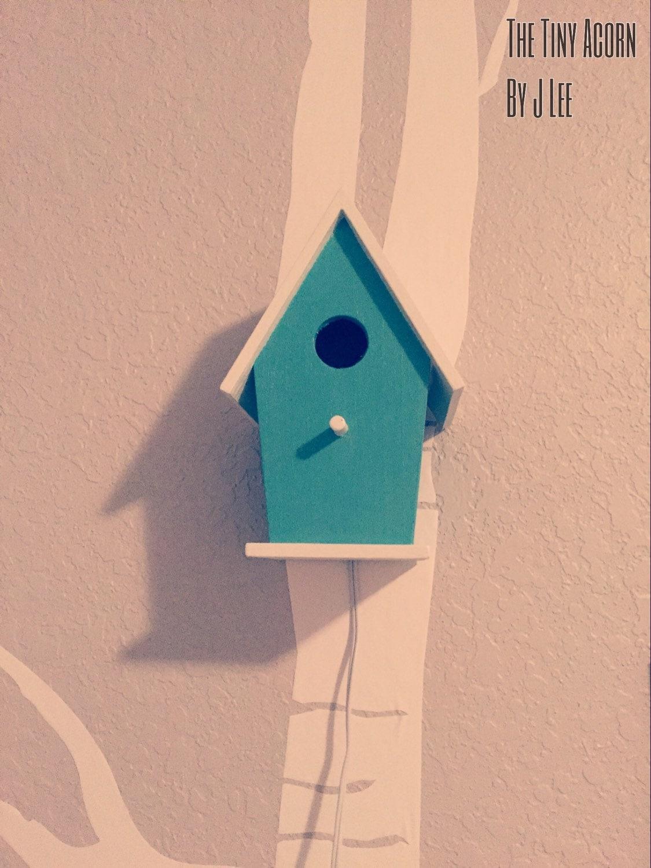 Bird house night light teal woodland nursery by thetinyacornbyjlee - Birdhouse nightlight ...