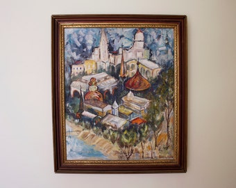 vintage 1950s large European cityscape painting / 50s colorful oil on canvas steeple and rooftops by Bette Bullock