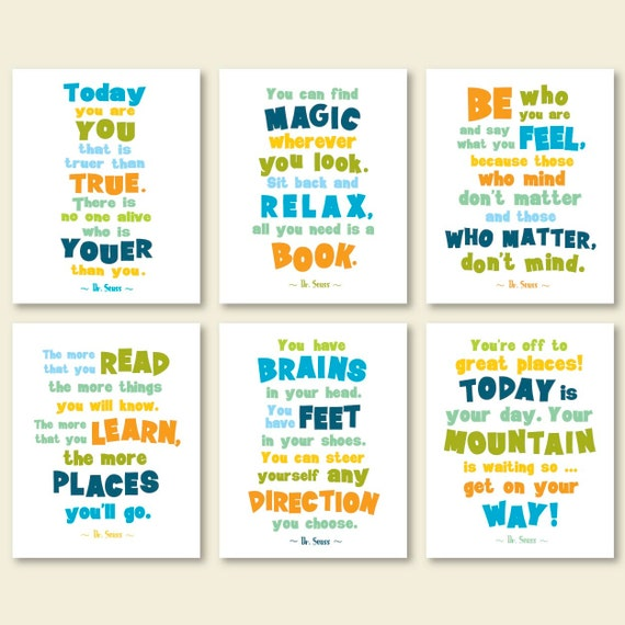 Dr Seuss Quotes Kid: Dr Seuss Quote Posters Kids Room Quotes Playroom Print Set