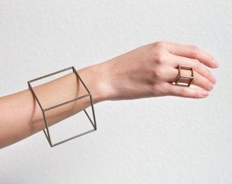 Cube Bracelet by Alminty3D | Geometric bracelet, stainless steel, gold steel