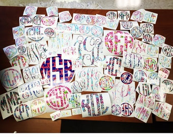 Lilly Pulitzer Inspired Monogram Sticker Decal