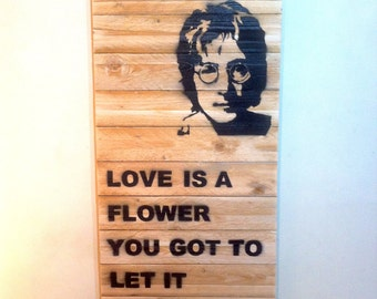 John Lennon The Beatles Wooden Wall Hanging Art Graffiti
