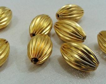 20 Pcs Raw Brass  10 x 16 mm Oval Striped Metal Bead