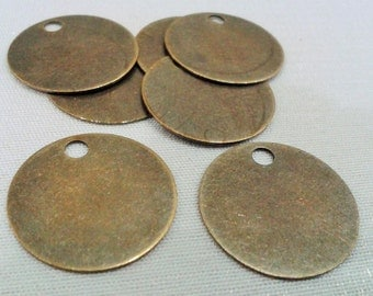 50 Pcs Antique Bronze 20 mm Stamping Blanks Disc - 3 mm Holes