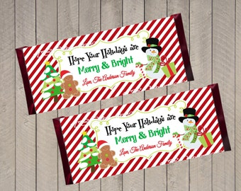 Christmas Snowman Chocolate Candy Bar Wrapper, Printable Party Decorations, DIY Party, School Treats, Christmas Party Favor, Teacher Gift