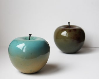 CERAMIC APPLE SCULPTURE,Sculpture ceramic turquoise apple,high fire pottery, fruit of fall,fruit ,kitchen decor new kitchen fruit lovers ,