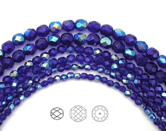 6mm (68pcs) Cobalt Blue AB coated color, Czech Fire Polished Round Faceted Glass Beads