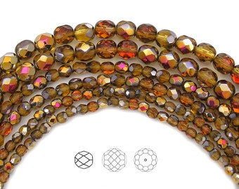 4mm (102pcs) Topaz Santander coated color, Czech Fire Polished Round Faceted Glass Beads