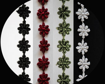 """0.5"""" Wide -- Black Dark Sage Green Burgundy Cuttable Daisy Flowers Guipure Floral Venice Lace Trim DIY Sewing Notions Supplies UB183"""
