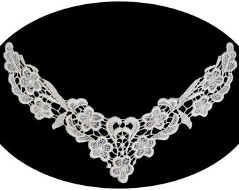 Ivory or White Floral Venice Lace Bodice Collar Neckline Sew On Applique Patch Sewing Notions DIY Altered Clothing Embellishment XM002