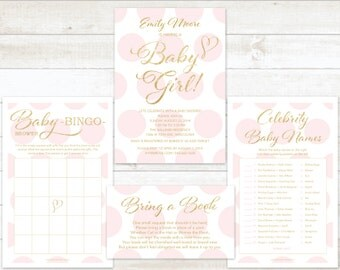 pink and gold baby girl shower invitation 4pc party pack baby girl shower party set baby girl shower games baby girl shower invite