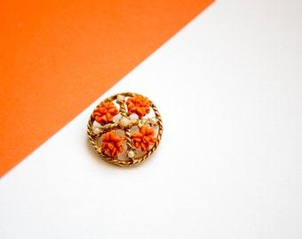 Vintage Orange and Faux Pearl Circle Brooch!