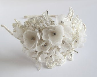 Bridal lace floral wedding headband accessory, sheer silk chiffon flowers, ivory beaded lace *made to order*