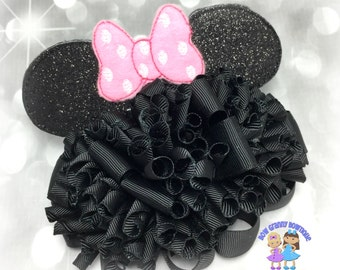 Black Mouse Ears Funky Loop Hair Bow, Mouse Ears Bow, Mouse Hair Bow,Mouse Bow,Girls Bow, Black Funky Bow, Black Hairbow, Over the Top Bow,