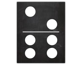 Game room decor - domino art - dominoes game - playroom wall decor - dominoes - kids playroom art - game room wall art  chalkboard printable