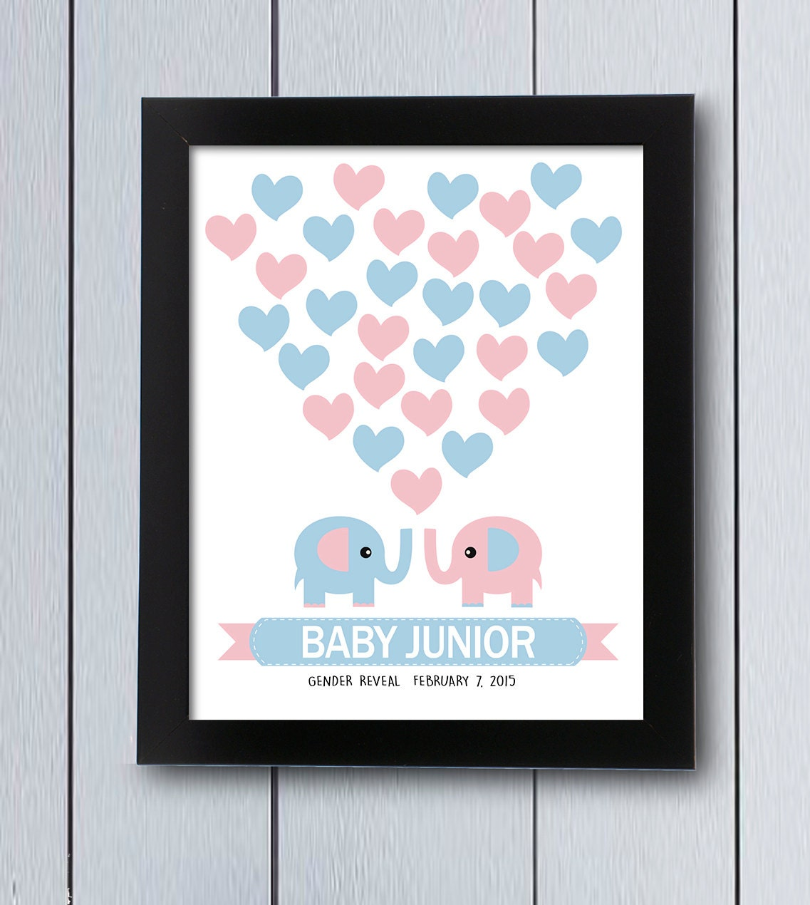 gender reveal party elephant guest book baby shower