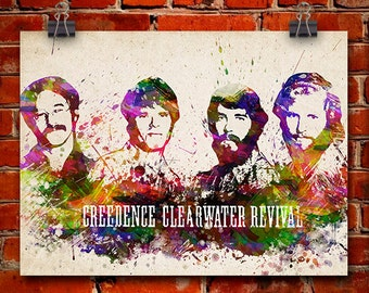 Creedence Clearwater Revival In Color Poster, Home Decor, Gift Idea