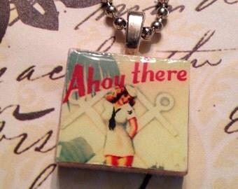 Scrabble Tile Necklace: Ahoy There