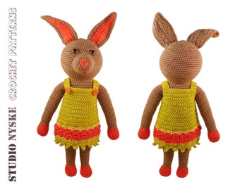 Crochet rabbit PATTERN, amigurumi doll bunny MOM, DIY animal pdf