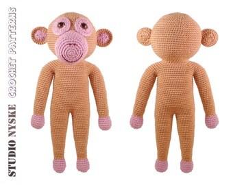 Cute animal crochet PATTERN, monkey LARGE amigurumi toy pdf