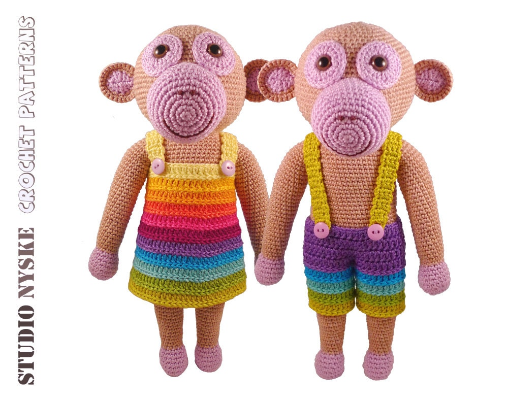Amigurumi Monkey Etsy : Monkey crochet PATTERN amigurumi toy MOM and DAD by ...