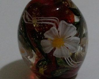 Japanese Lamp work Tombodama Red Anemone / Art Glass Bead