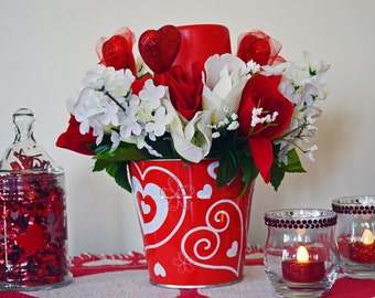 Valentine Day Decor, Floral Arrangement LED Candle, Table Decoration, Valentines Gift, Roses, Valentine Pail, Ready to Ship!