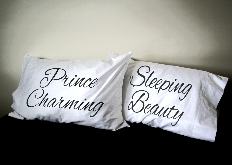 sleeping beauty prince charming his and pillowcase set