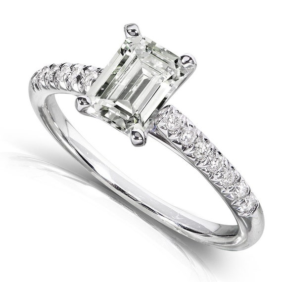 emerald cut moissanite and engagement ring 1 1 5 carat