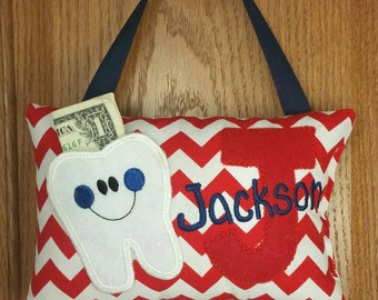 Personalized boys tooth fairy pillow, red and white chevron, choose your version