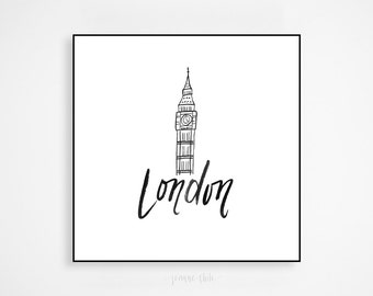 City of London Print: Handlettered Art, Brush Calligraphy, Big Ben Illustration, Wall Art, Wall Decor