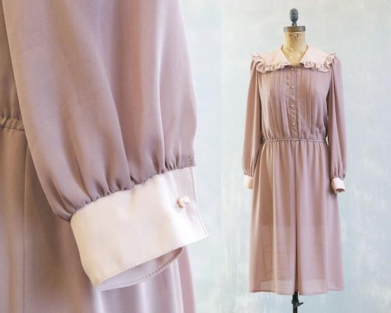 vintage beige dress / secretary dress / cafe au lait dress / taupe ruffled collar secretary day dress / 80s beige dress / long sleeves dress