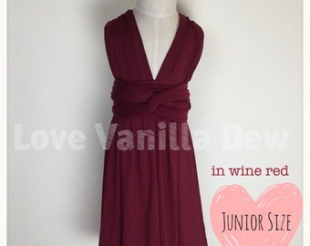 Junior Bridesmaid Dress Infinity Dress  Wine Red Convertible Dress Multiway Wrap Dress