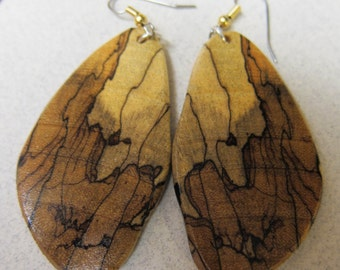 Beautiful Spalted Tamarind Exotic Wood Dangle Earrings ExoticWoodJewelryAnd handcrafted ecofriendly