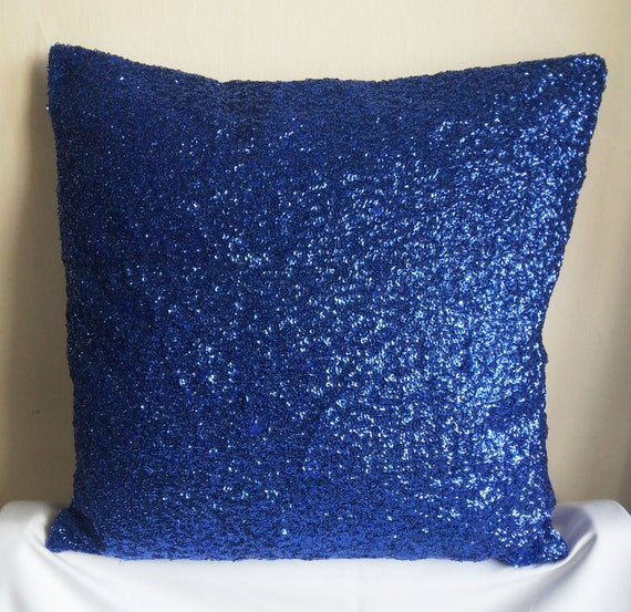 SALE Royal Blue Sequins Decorative Throw Pillow Cover 16x16