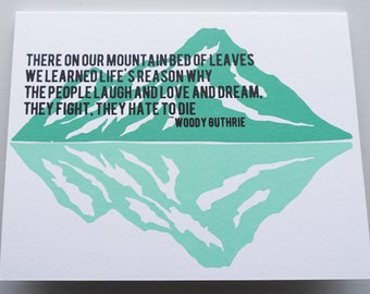 Remember the Mountain Bed ~ Woody Guthrie ~ Jeff Tweedy ~ Valentine Screen Printed Greeting Card