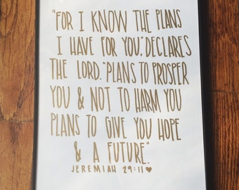 Jeremiah 29:11 framed drawing (9x12)