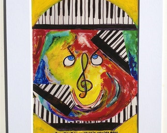 Funky Music Giclee Print Yellow Red Piano Keys  G Clef Green Black and White