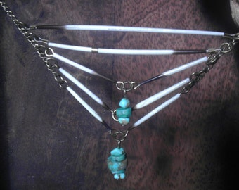 Turquoise and Porcupine quill necklace