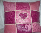 Pink Leather Valentine Heart Pillow