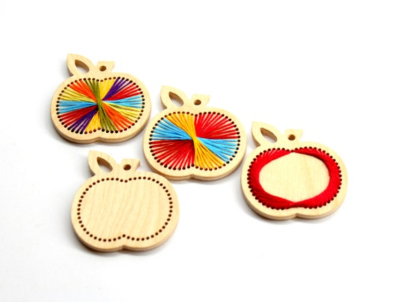 Wooden embroidery kit a small apple homemade ornament