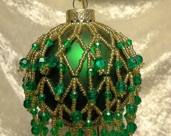 Gold and green Christmas ornament
