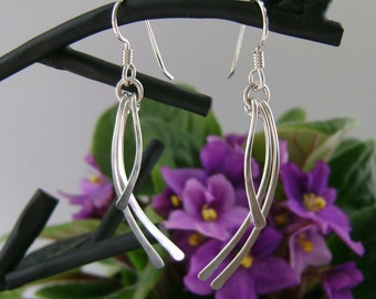 Sterling Silver Earrings, Silver Dangle Earrings, Hammered Silver