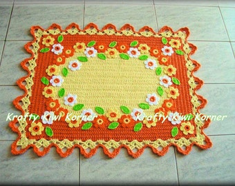 Crochet Floral Rug - Made to Order
