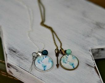 Watercolor Globe {North & South America} Necklace