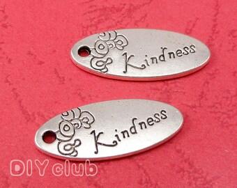 20pcs of Antique Tibetan silver Kindness Charms pendants 25x11mm
