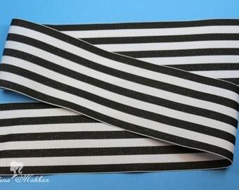 """5 yards 2 1/4"""" Black White Stripes Monarch Woven Grosgrain Ribbon"""