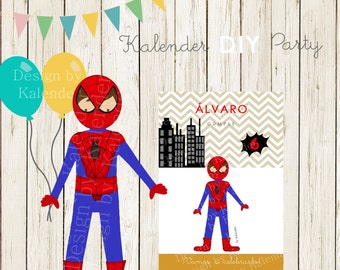 Personalisierte Spiderman, Superhelden Party. Spiderman Einladung DIY  Bedruckbar.